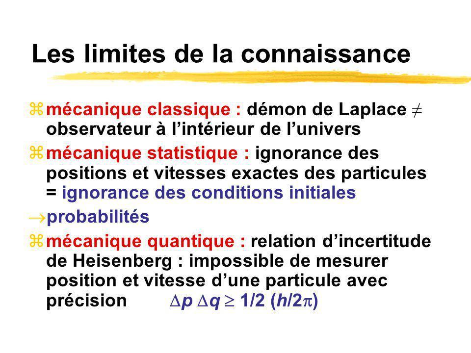 Les limites de la connaissance mécanique classique : démon de Laplace observateur à lintérieur de lunivers mécanique statistique : ignorance des positions et vitesses exactes des particules = ignorance des conditions initiales probabilités mécanique quantique : relation dincertitude de Heisenberg : impossible de mesurer position et vitesse dune particule avec précision p q 1/2 (h/2 )
