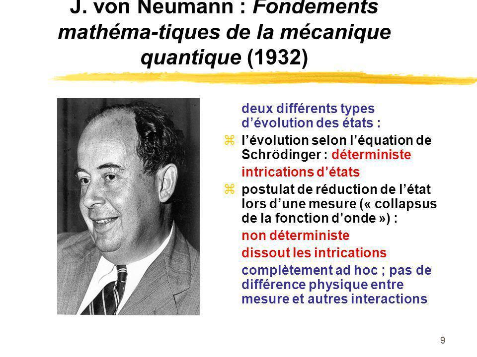 9 J. von Neumann : Fondements mathéma-tiques de la mécanique quantique (1932) deux différents types dévolution des états : lévolution selon léquation