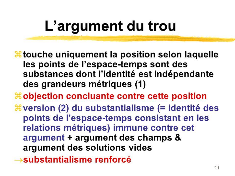 11 Largument du trou touche uniquement la position selon laquelle les points de lespace-temps sont des substances dont lidentité est indépendante des