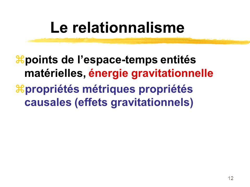 12 Le relationnalisme points de lespace-temps entités matérielles, énergie gravitationnelle propriétés métriques propriétés causales (effets gravitati