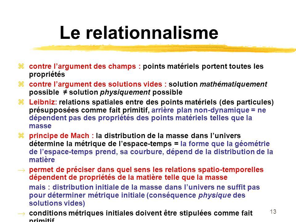 13 Le relationnalisme contre largument des champs : points matériels portent toutes les propriétés contre largument des solutions vides : solution mat