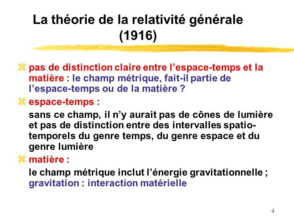 4 La théorie de la relativité générale (1916) pas de distinction claire entre lespace-temps et la matière : le champ métrique, fait-il partie de lespa