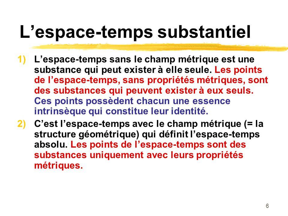 6 Lespace-temps substantiel 1) Lespace-temps sans le champ métrique est une substance qui peut exister à elle seule. Les points de lespace-temps, sans