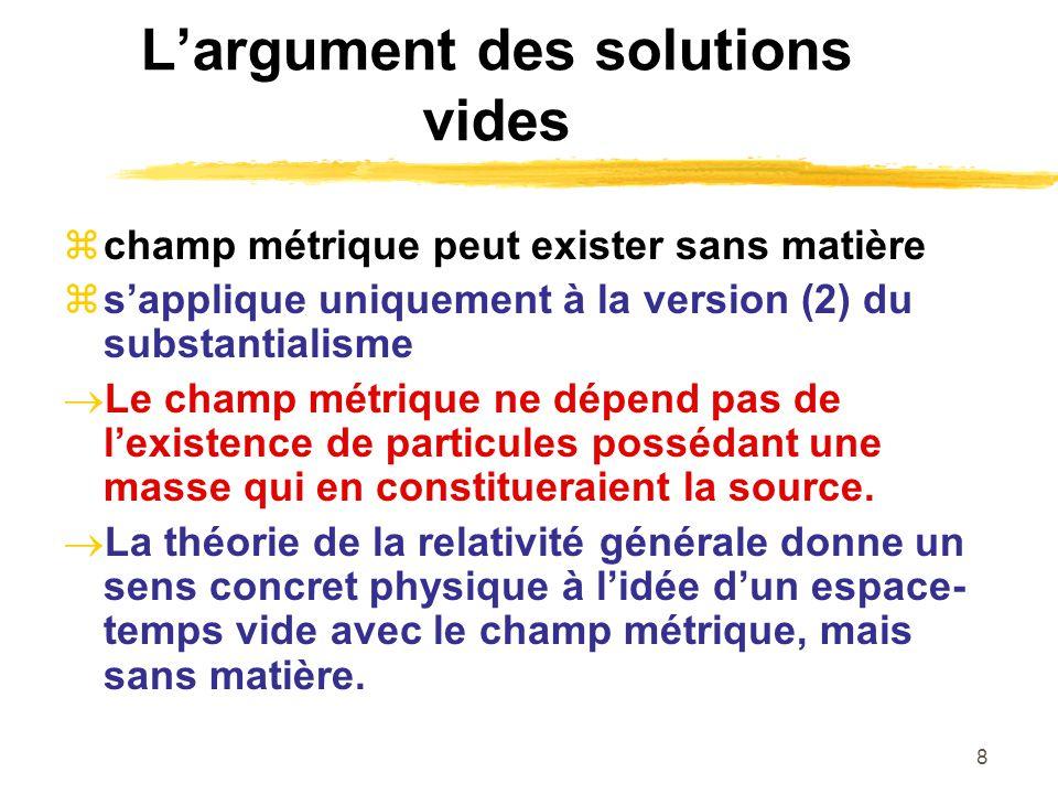 8 Largument des solutions vides champ métrique peut exister sans matière sapplique uniquement à la version (2) du substantialisme Le champ métrique ne