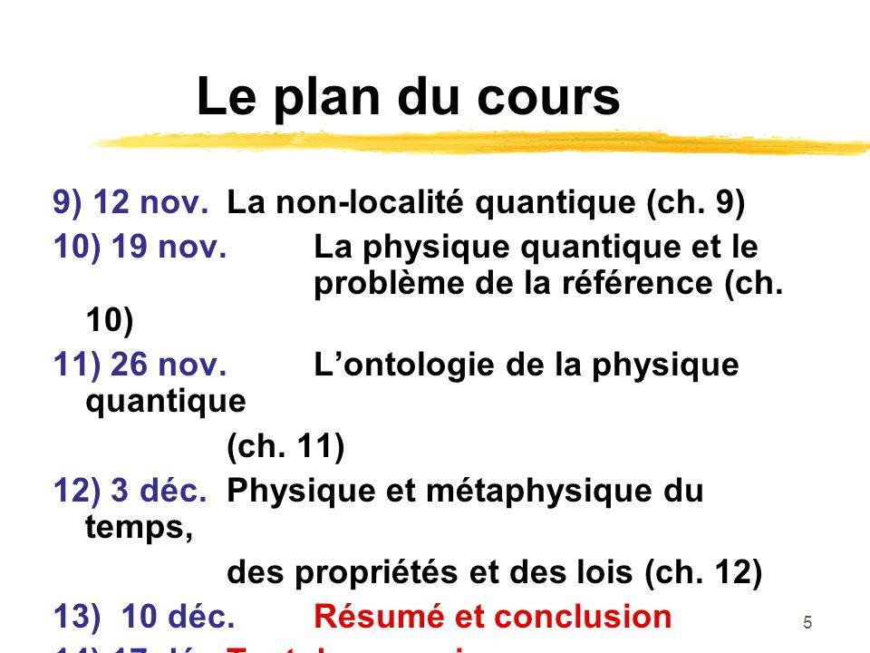 5 Le plan du cours 9) 12 nov. La non-localité quantique (ch. 9) 10) 19 nov.La physique quantique et le problème de la référence (ch. 10) 11) 26 nov. L