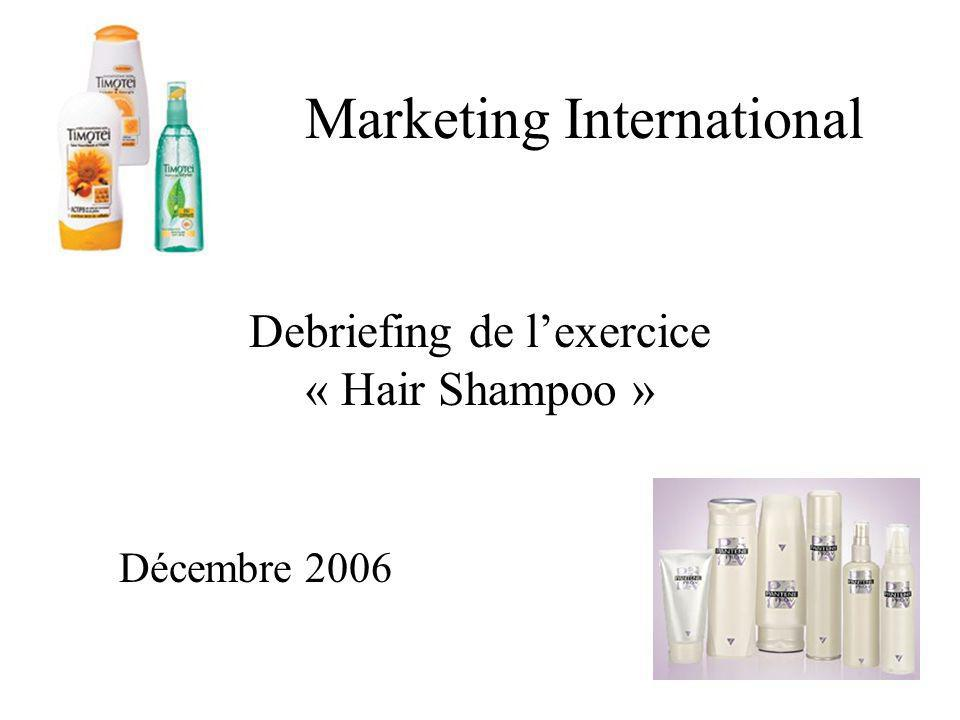 Marketing International Debriefing de lexercice « Hair Shampoo » Décembre 2006
