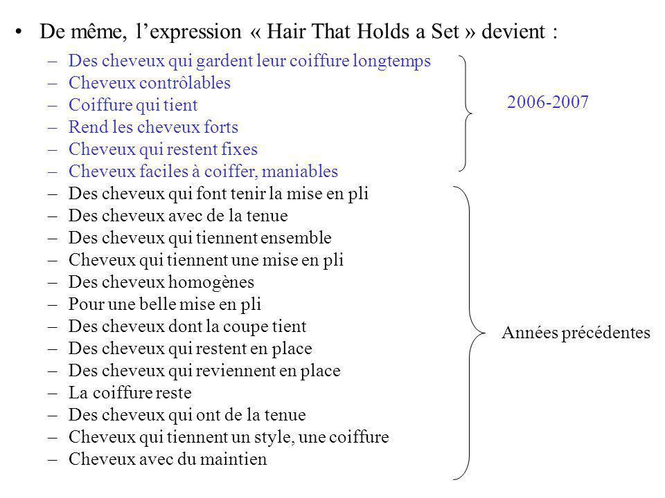 De même, lexpression « Hair That Holds a Set » devient : –Des cheveux qui gardent leur coiffure longtemps –Cheveux contrôlables –Coiffure qui tient –Rend les cheveux forts –Cheveux qui restent fixes –Cheveux faciles à coiffer, maniables –Des cheveux qui font tenir la mise en pli –Des cheveux avec de la tenue –Des cheveux qui tiennent ensemble –Cheveux qui tiennent une mise en pli –Des cheveux homogènes –Pour une belle mise en pli –Des cheveux dont la coupe tient –Des cheveux qui restent en place –Des cheveux qui reviennent en place –La coiffure reste –Des cheveux qui ont de la tenue –Cheveux qui tiennent un style, une coiffure –Cheveux avec du maintien Années précédentes 2006-2007