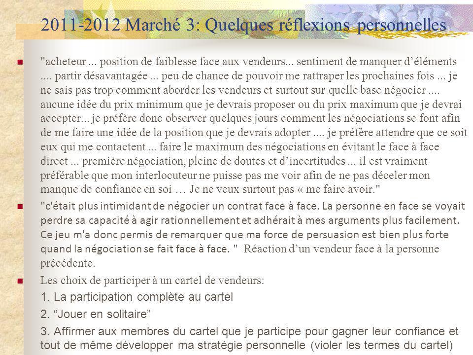 2011-2012 Marché 3: Quelques réflexions personnelles acheteur...