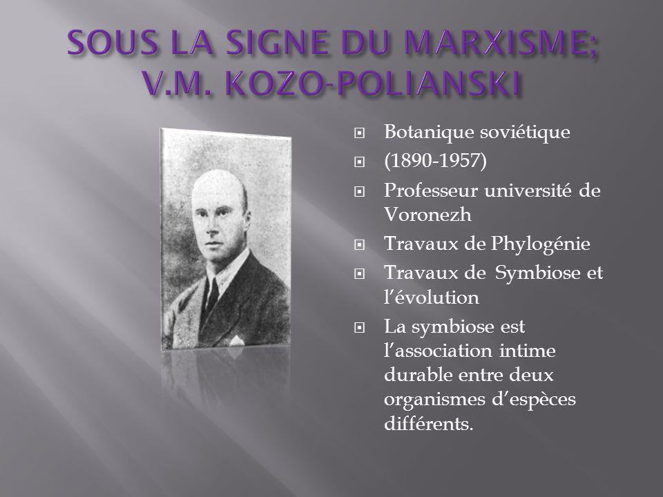 Botanique soviétique (1890-1957) Professeur université de Voronezh Travaux de Phylogénie Travaux de Symbiose et lévolution La symbiose est lassociation intime durable entre deux organismes despèces différents.