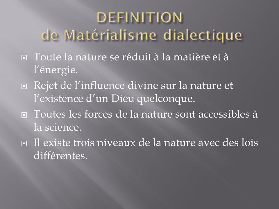 Toute la nature se réduit à la matière et à lénergie.