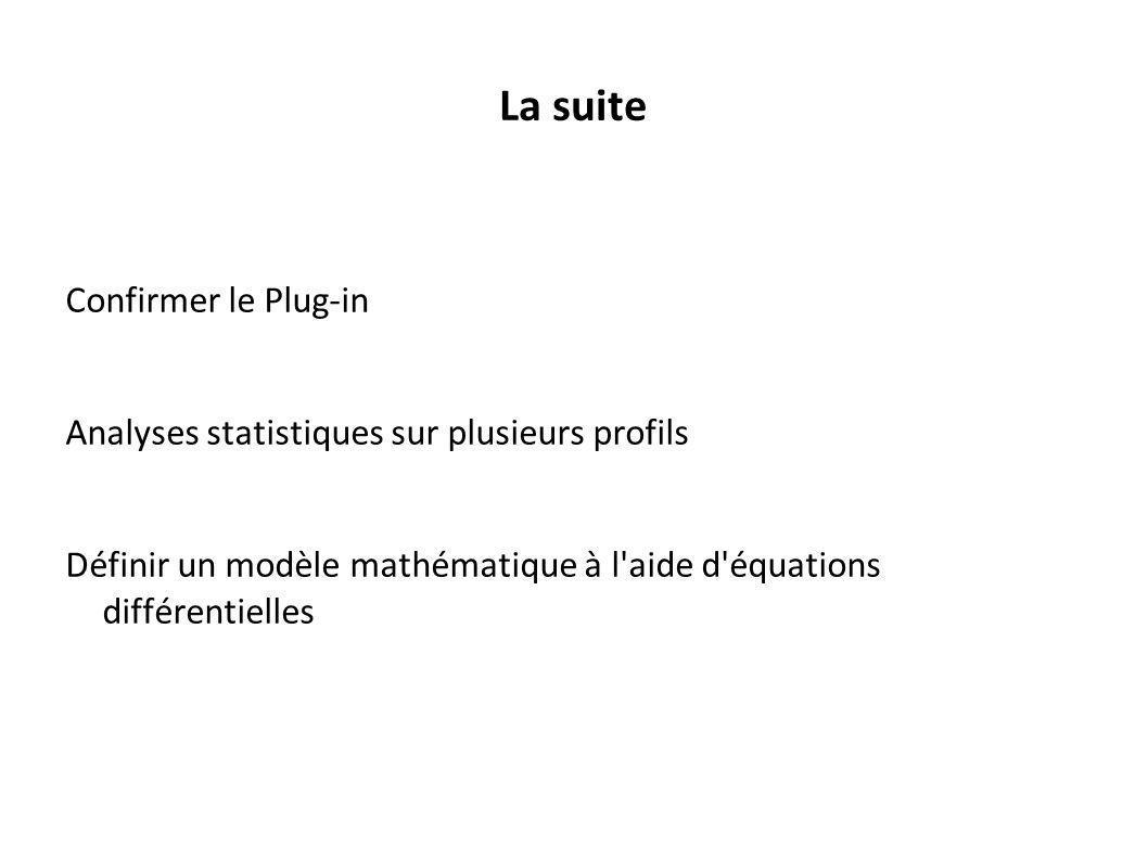 La suite Confirmer le Plug-in Analyses statistiques sur plusieurs profils Définir un modèle mathématique à l'aide d'équations différentielles