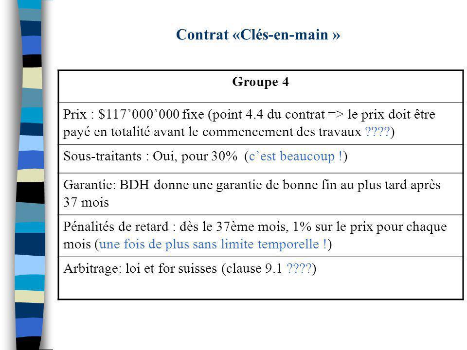Contrat «Clés-en-main » Groupe 4 Prix : $117000000 fixe (point 4.4 du contrat => le prix doit être payé en totalité avant le commencement des travaux ????) Sous-traitants : Oui, pour 30% (cest beaucoup !) Garantie: BDH donne une garantie de bonne fin au plus tard après 37 mois Pénalités de retard : dès le 37ème mois, 1% sur le prix pour chaque mois (une fois de plus sans limite temporelle !) Arbitrage: loi et for suisses (clause 9.1 ????)