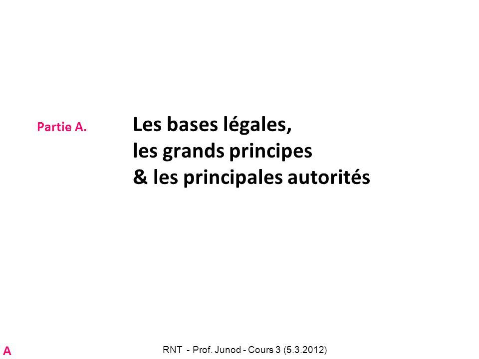Partie A. Les bases légales, les grands principes & les principales autorités RNT - Prof. Junod - Cours 3 (5.3.2012) A