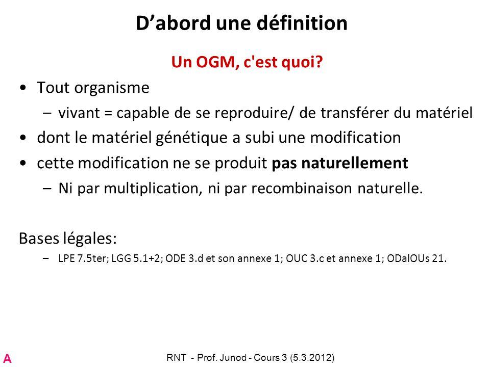 Dabord une définition Un OGM, c'est quoi? Tout organisme –vivant = capable de se reproduire/ de transférer du matériel dont le matériel génétique a su