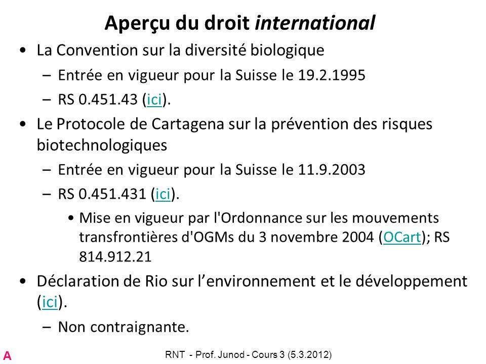 Aperçu du droit international La Convention sur la diversité biologique –Entrée en vigueur pour la Suisse le 19.2.1995 –RS 0.451.43 (ici).ici Le Proto