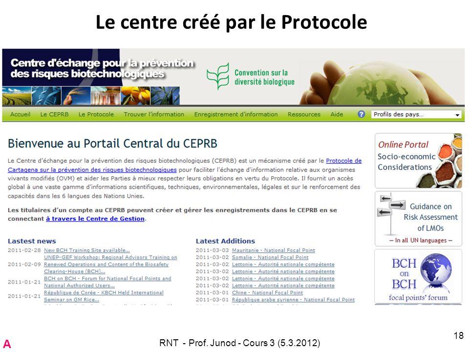 Le centre créé par le Protocole RNT - Prof. Junod - Cours 3 (5.3.2012) 18 A