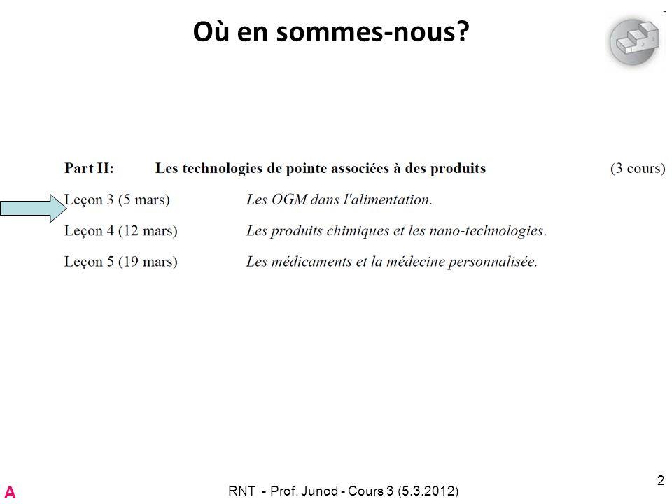 RNT - Prof. Junod - Cours 3 (5.3.2012) 2 Où en sommes-nous? A