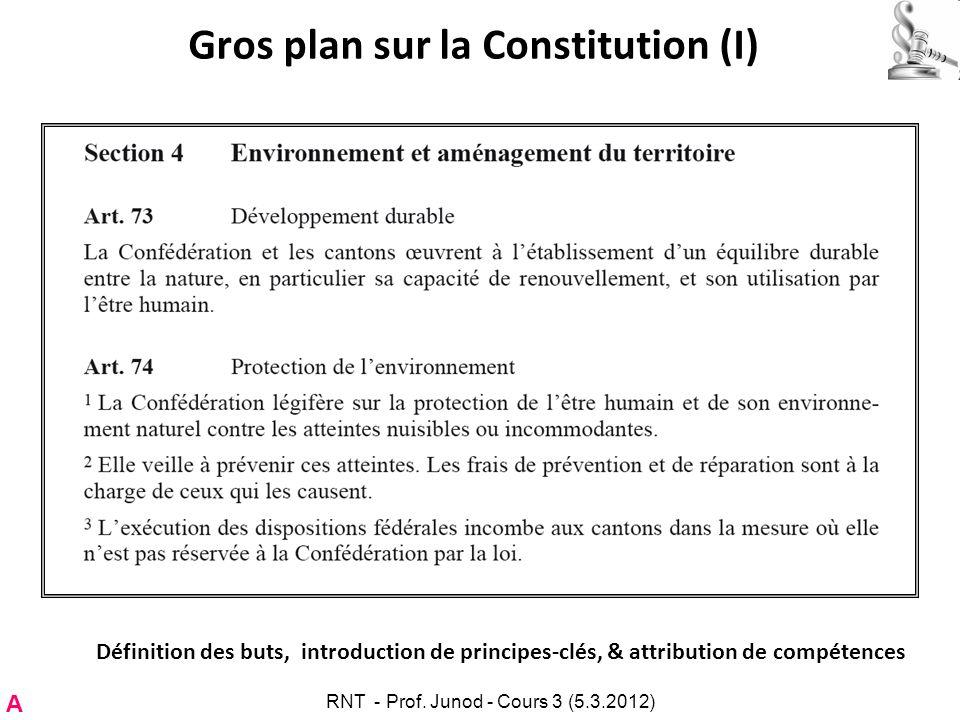 Gros plan sur la Constitution (I) Définition des buts, introduction de principes-clés, & attribution de compétences A RNT - Prof. Junod - Cours 3 (5.3