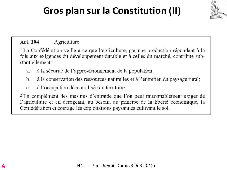 Gros plan sur la Constitution (II) A RNT - Prof. Junod - Cours 3 (5.3.2012)
