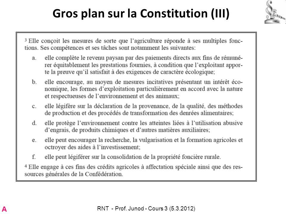 Gros plan sur la Constitution (III) A RNT - Prof. Junod - Cours 3 (5.3.2012)