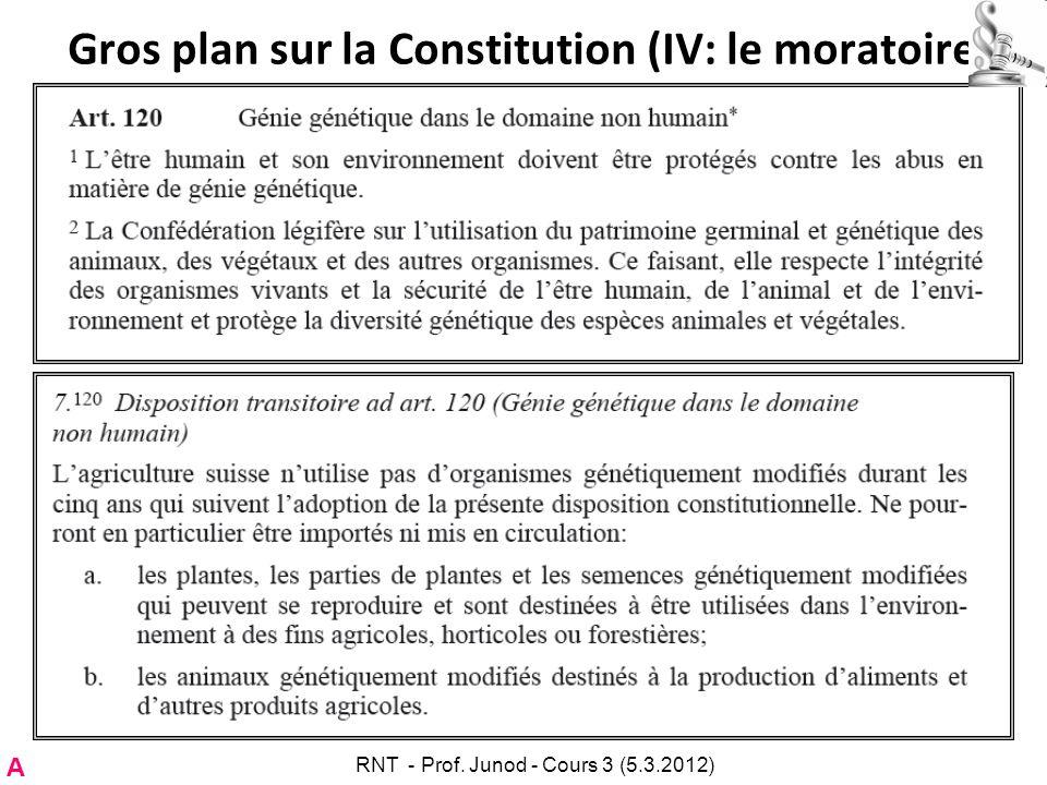 Gros plan sur la Constitution (IV: le moratoire) A RNT - Prof. Junod - Cours 3 (5.3.2012)