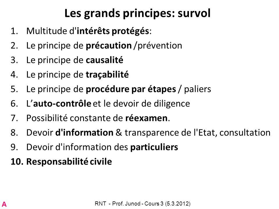 Les grands principes: survol 1.Multitude d'intérêts protégés: 2.Le principe de précaution /prévention 3.Le principe de causalité 4.Le principe de traç