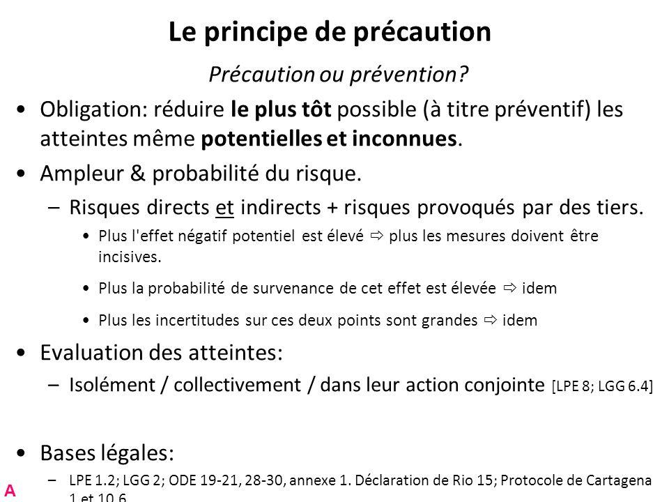 Le principe de précaution Précaution ou prévention? Obligation: réduire le plus tôt possible (à titre préventif) les atteintes même potentielles et in