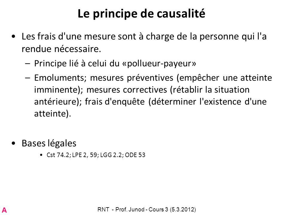 Le principe de causalité Les frais d'une mesure sont à charge de la personne qui l'a rendue nécessaire. –Principe lié à celui du «pollueur-payeur» –Em