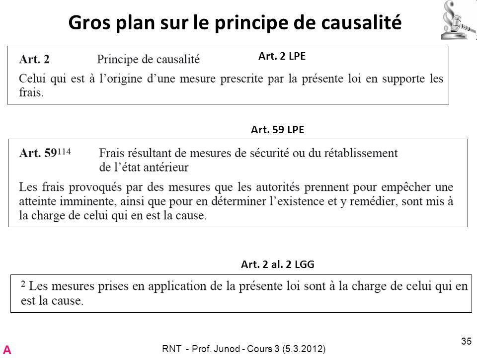 Gros plan sur le principe de causalité RNT - Prof. Junod - Cours 3 (5.3.2012) 35 Art. 2 LPE A Art. 59 LPE Art. 2 al. 2 LGG