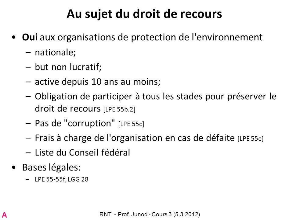 Au sujet du droit de recours Oui aux organisations de protection de l'environnement –nationale; –but non lucratif; –active depuis 10 ans au moins; –Ob