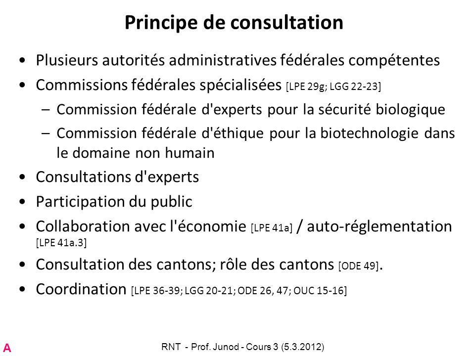 Principe de consultation Plusieurs autorités administratives fédérales compétentes Commissions fédérales spécialisées [LPE 29g; LGG 22-23] –Commission