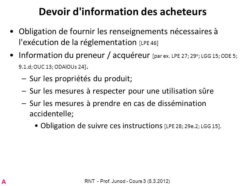 Devoir d'information des acheteurs Obligation de fournir les renseignements nécessaires à l'exécution de la réglementation [LPE 46] Information du pre