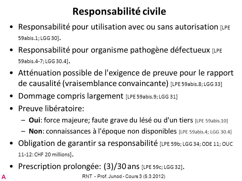 Responsabilité civile Responsabilité pour utilisation avec ou sans autorisation [LPE 59abis.1; LGG 30]. Responsabilité pour organisme pathogène défect