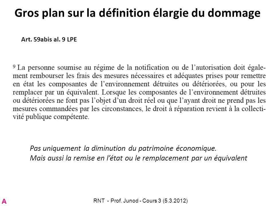 Gros plan sur la définition élargie du dommage Art. 59abis al. 9 LPE Pas uniquement la diminution du patrimoine économique. Mais aussi la remise en lé