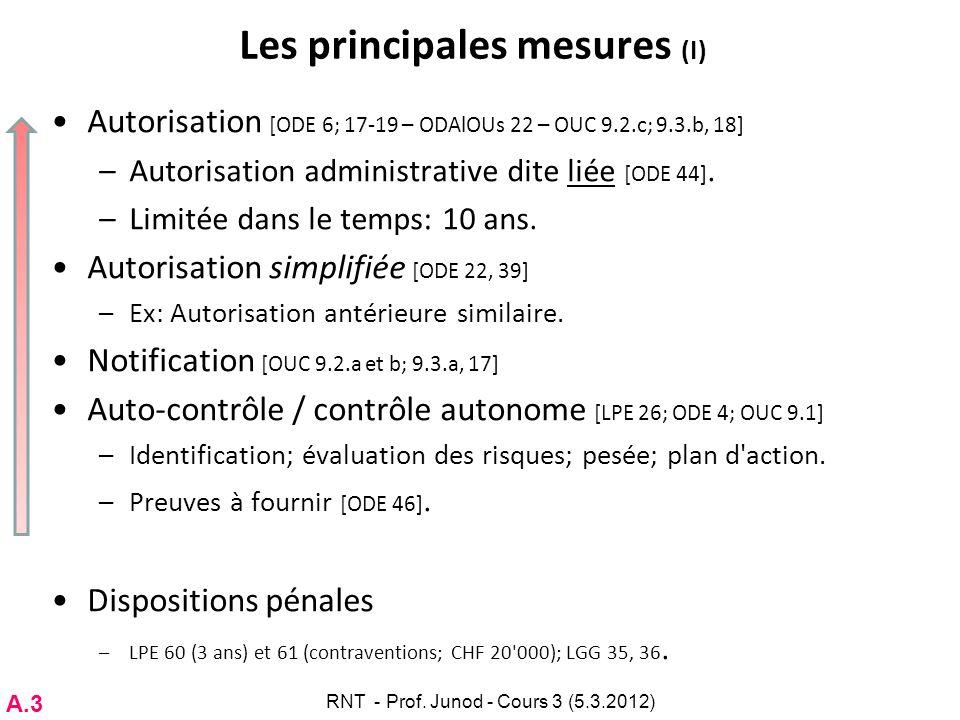 Les principales mesures (I) Autorisation [ODE 6; 17-19 – ODAlOUs 22 – OUC 9.2.c; 9.3.b, 18] –Autorisation administrative dite liée [ODE 44]. –Limitée