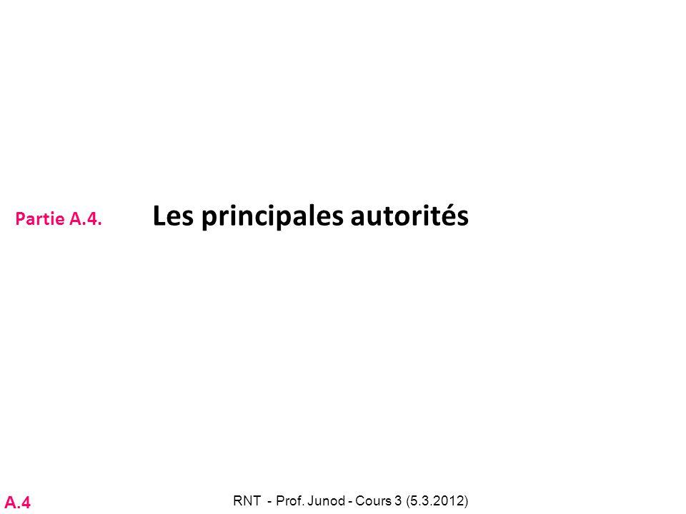 Partie A.4. Les principales autorités RNT - Prof. Junod - Cours 3 (5.3.2012) A.4