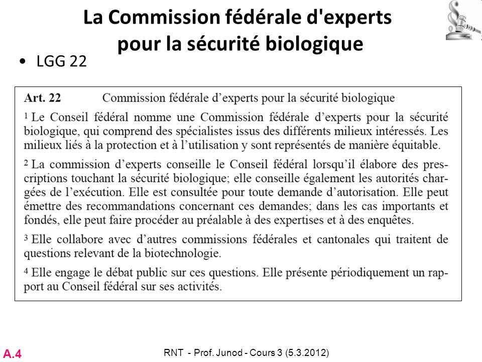 La Commission fédérale d'experts pour la sécurité biologique LGG 22 A.4 RNT - Prof. Junod - Cours 3 (5.3.2012)