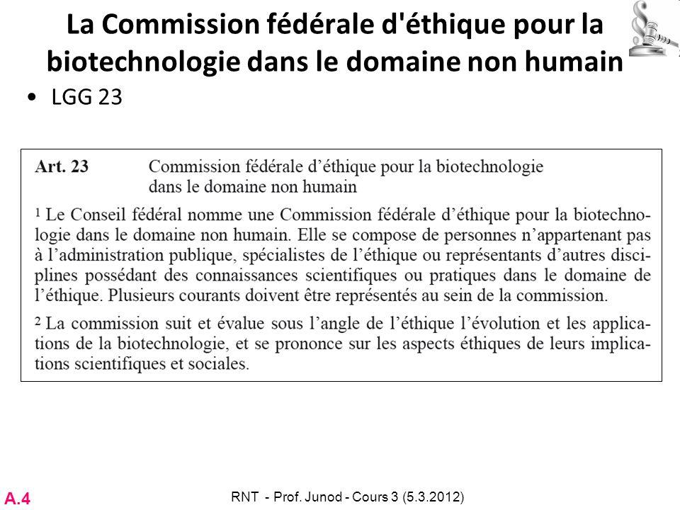 La Commission fédérale d'éthique pour la biotechnologie dans le domaine non humain LGG 23 A.4 RNT - Prof. Junod - Cours 3 (5.3.2012)