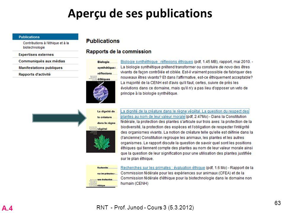 Aperçu de ses publications RNT - Prof. Junod - Cours 3 (5.3.2012) 63 A.4