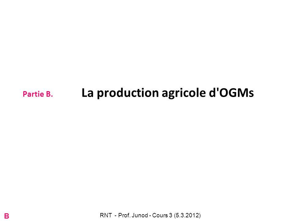 Partie B. La production agricole d'OGMs B RNT - Prof. Junod - Cours 3 (5.3.2012)
