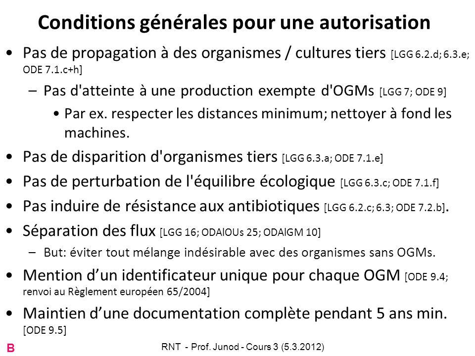 Conditions générales pour une autorisation Pas de propagation à des organismes / cultures tiers [LGG 6.2.d; 6.3.e; ODE 7.1.c+h] –Pas d'atteinte à une