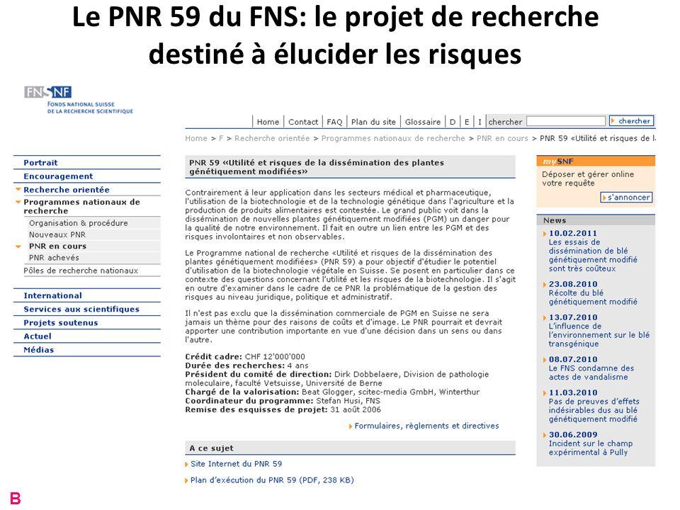 Le PNR 59 du FNS: le projet de recherche destiné à élucider les risques B