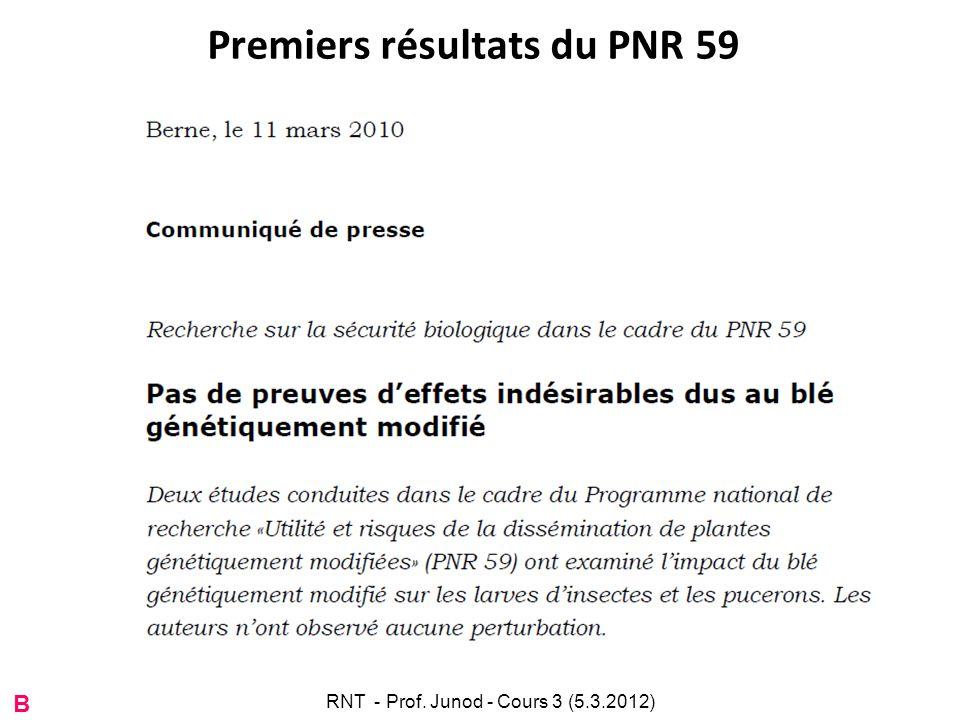 Premiers résultats du PNR 59 B RNT - Prof. Junod - Cours 3 (5.3.2012)