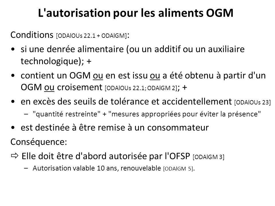L'autorisation pour les aliments OGM Conditions [ODAlOUs 22.1 + ODAlGM] : si une denrée alimentaire (ou un additif ou un auxiliaire technologique); +