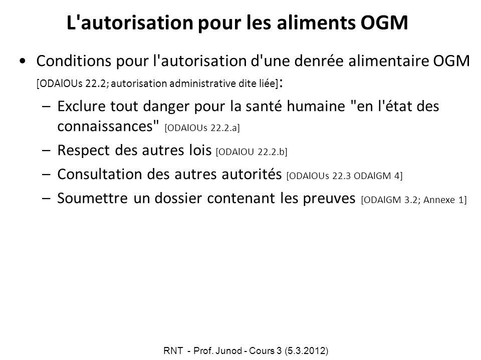 L'autorisation pour les aliments OGM Conditions pour l'autorisation d'une denrée alimentaire OGM [ODAlOUs 22.2; autorisation administrative dite liée]