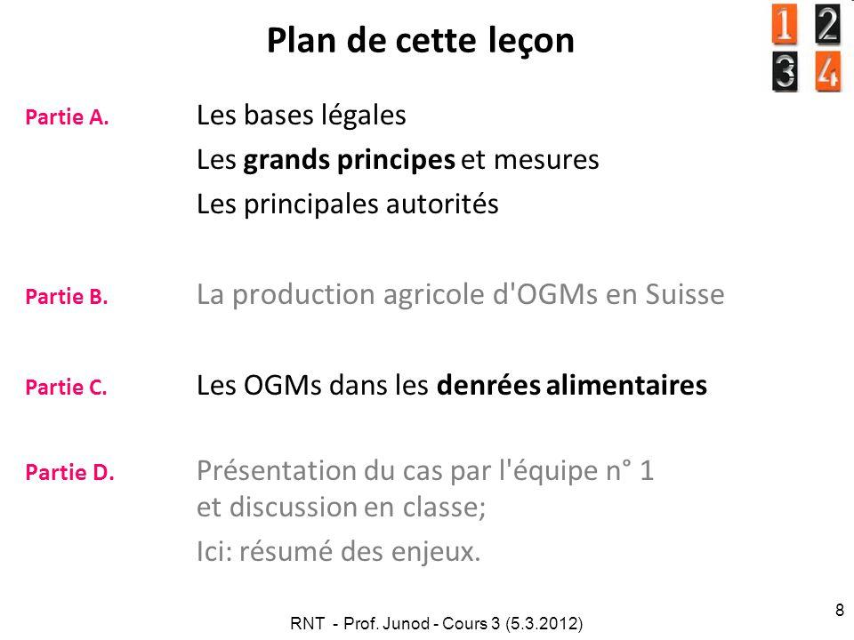RNT - Prof. Junod - Cours 3 (5.3.2012) 8 Plan de cette leçon Partie A. Les bases légales Les grands principes et mesures Les principales autorités Par
