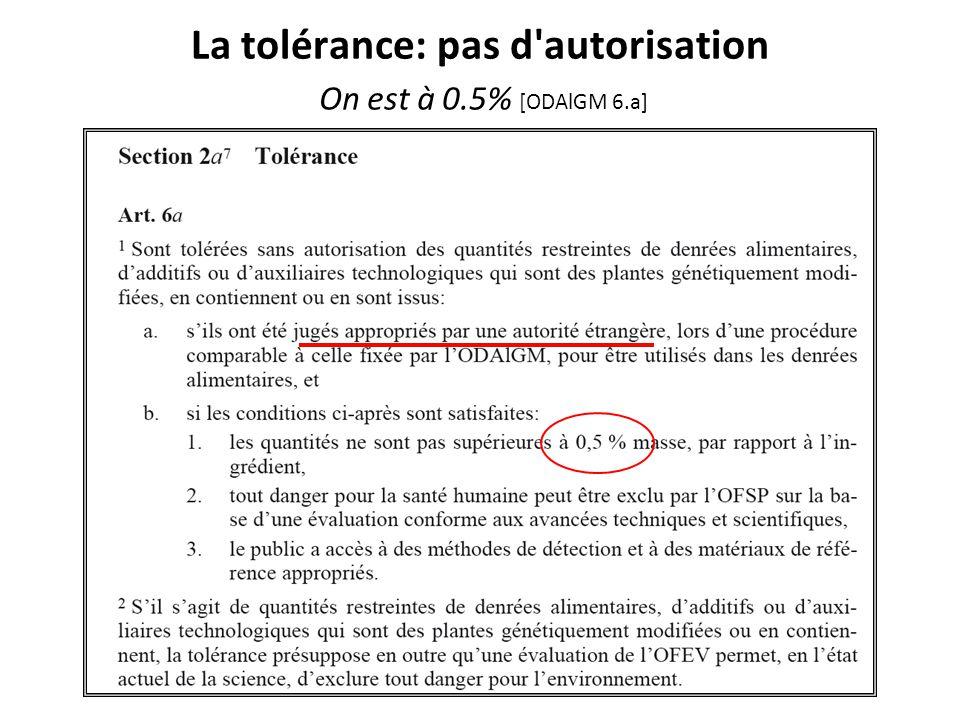 La tolérance: pas d'autorisation On est à 0.5% [ODAlGM 6.a]
