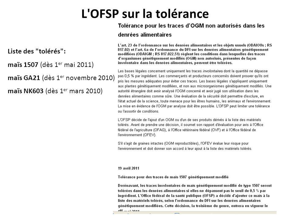 L'OFSP sur la tolérance Liste des