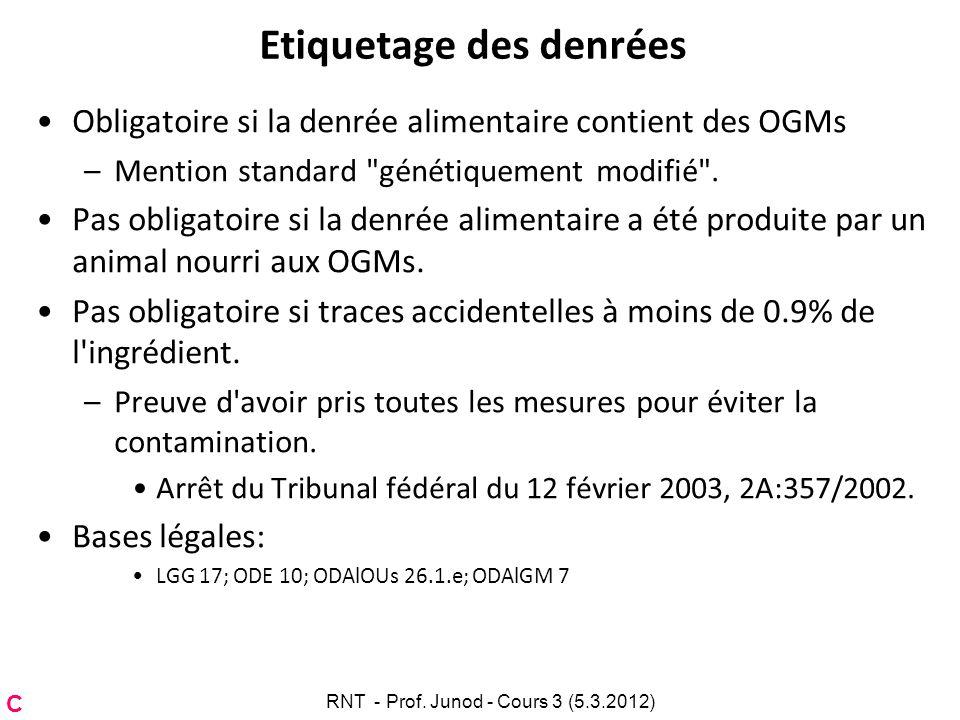 Etiquetage des denrées Obligatoire si la denrée alimentaire contient des OGMs –Mention standard