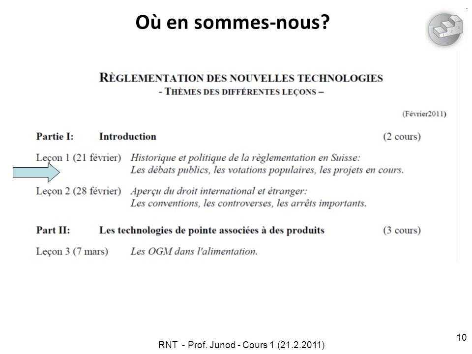 RNT - Prof. Junod - Cours 1 (21.2.2011) 10 Où en sommes-nous?